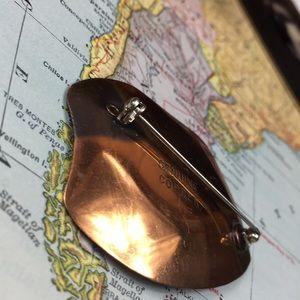 Vintage Jewelry - Vintage Genuine Copper & Robin's Egg Enamel Brooch